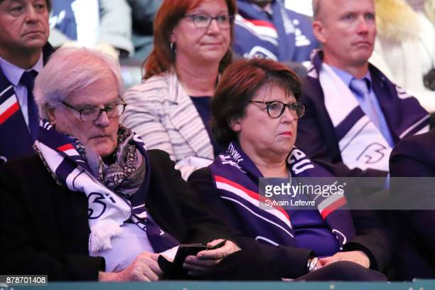 Lille's mayor Martine Aubry and her husband JeanLouis Brochen attend day 1 of Davis Cup World Group final between France and Belgium at Stade Pierre...