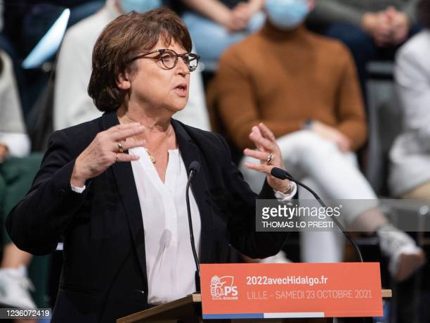 Lille's mayor Martine Aubry speaks during the formal inauguration of Anne Hidalgo as French Socialist Party candidate for the April 2022 presidential...