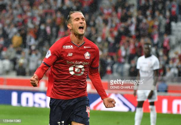 Lille's midfielder Yusuf Yazici celebrates a first goal for his team during the French L1 football match between Lille OSC and Montpellier Herault SC...