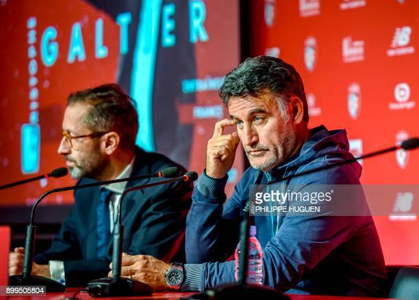 Lille's new French headcoach Christophe Galtier addresses a press conference on his presentation next to Lille's general manager Marc Ingla at the...