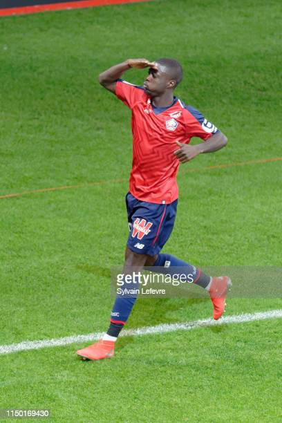 Lille's Nicolas Pepe celebrates after scoring goal during Lille vs Angers at Stade Pierre Mauroy on May 18 2019 in Lille France