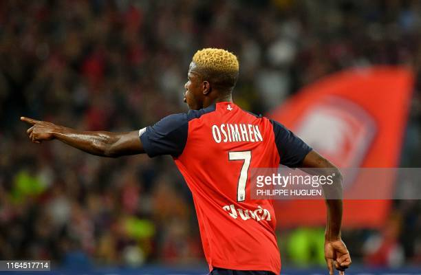 Lille's Nigerian forward Victor Osimhen celebrates after scoring a goal during the French L1 football match between Lille Olympique Sporting Club and...