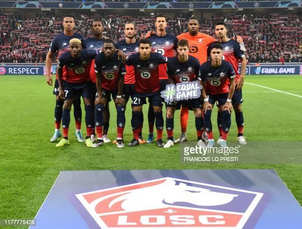 Lille's Nigerian forward Victor Osimhen Lille's French midfielder Boubakary Soumare Lille's French midfielder Benjamin Andre Lille's Croatian...
