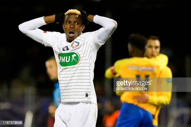 Lille's Nigerian forward Victor Osimhen reacts during the French Cup roundof16 football match between Epinal and Lille at the stade de la Colombiere...