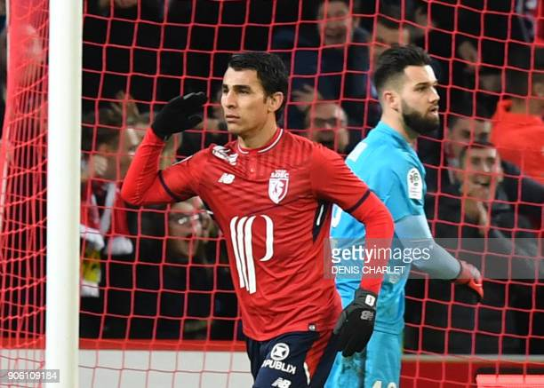 Lille's Paraguay defender Junior Alonso celebrates after scoring during the French L1 football match between Lille OSC and Rennes at the PierreMauroy...
