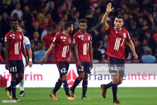 Lille's Paraguayan defender Junior Alonso celebrates after scoring during the French League Cup round of 16 football match between Lille and...