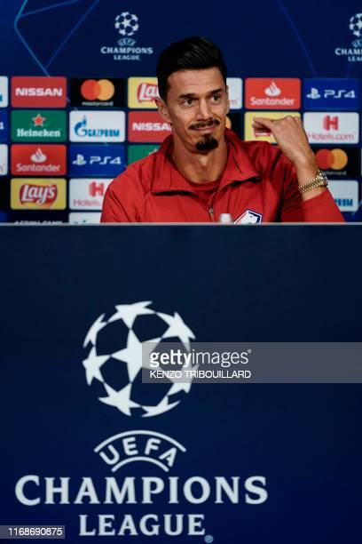 Lille's Portuguese defender Jose Fonte speaks during a press conference on September 16 2019 at Johan Cruyff Arena in Amsterdam on the eve of their...