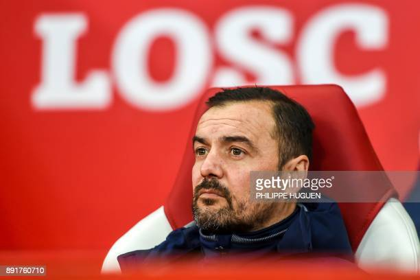Lille's Portuguese head coach Joao Sacramento looks on during the French League Cup roud of 16 football match between Lille vs Nice on December 13,...
