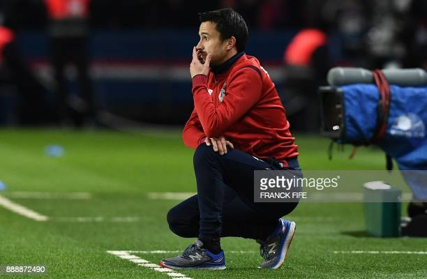 Lille's Portuguese interim head coach Joao Sacramento reacts during the French L1 football match between Paris Saint-Germain and Lille at the Parc...