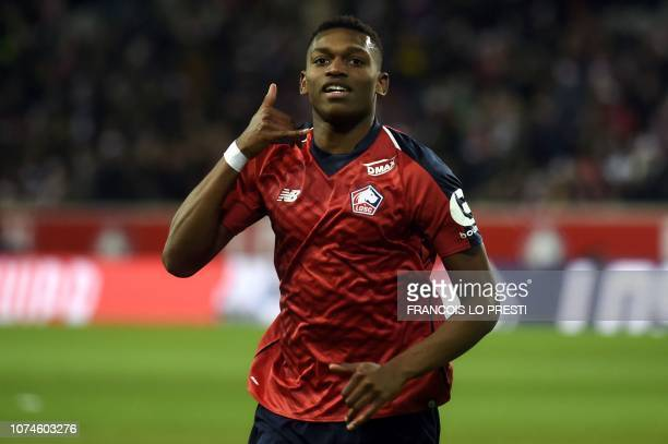 Lille's Rafael Leao celebrates after scoring a goal during the French L1 football match between Lille and Toulouse on December 22 2018 at the Pierre...