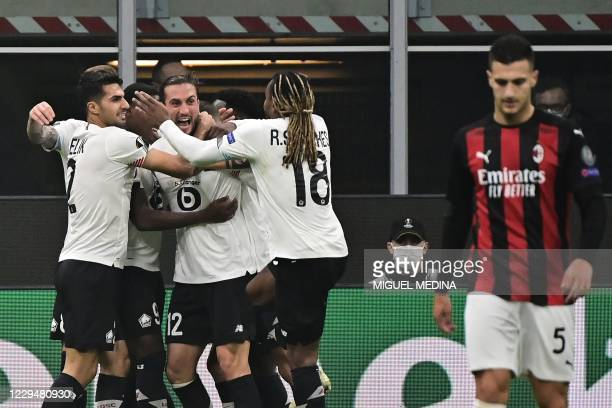 Lille's Turkish midfielder Yusuf Yazici celebrates with teammates after scoring a goal during the UEFA Europa League first round day three Group H...