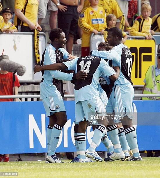 Newcastle celebrates Shola Ameobi's second goal against Lillestrom during the UEFA Intertoto Cup at Arasen Stadium in Lillestrom 22 July 2006 AFP...