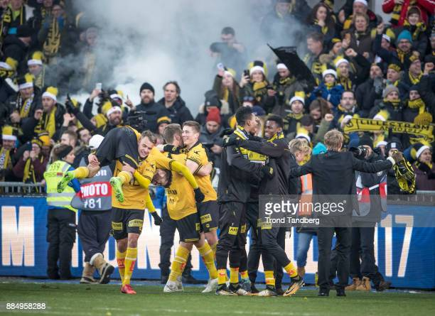Lillestrom celebrates victory after Norway Cup Final between Sarpsborg 08 v Lillestrom at Ullevaal Stadion on December 3 2017 in Oslo Norway