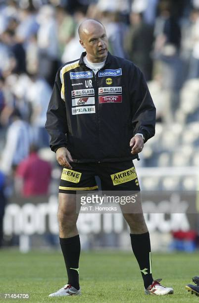 Lillestrom coach Uwe Rosler speaks during the UEFA Intertoto Cup third round First leg match between Newcastle United v Lillestrom SK at St James'...
