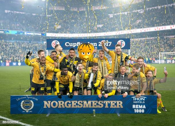 Lillestrom Sportsklubb celebrates victory after Norway Cup Final between Sarpsborg 08 v Lillestrom at Ullevaal Stadion on December 3 2017 in Oslo...