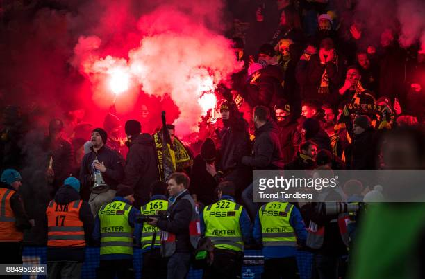 Lillestrom supporters during Norway Cup Final between Sarpsborg 08 v Lillestrom at Ullevaal Stadion on December 3 2017 in Oslo Norway