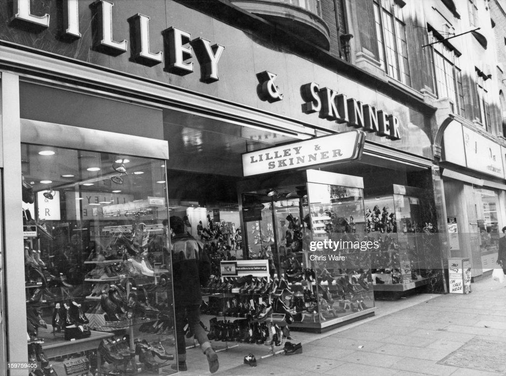 A Lilley & Skinner shoe shop in London, UK, November 1974.