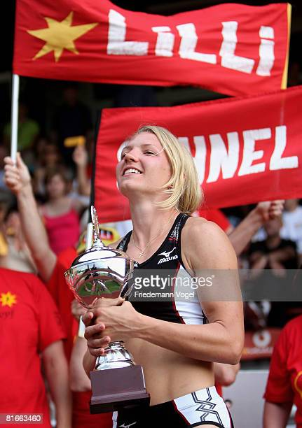 Lilli Schwarzkopf of Germany celebrates after winning the Heptathlon during the Erdgas Track and Field Meeting on June 22, 2008 in Ratingen, Germany.