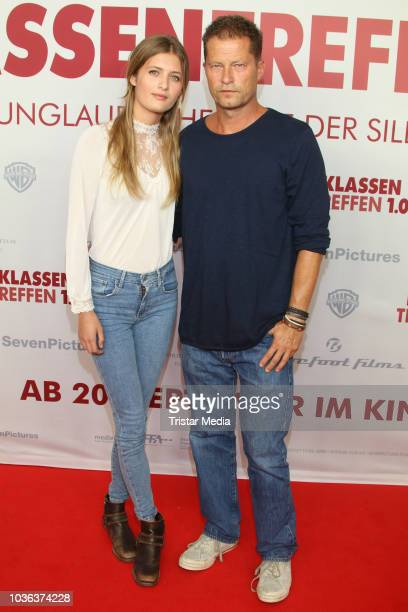Lilli Schweiger and her father Til Schweiger attend the premiere of the film 'Klassentreffen 10 Die unglaubliche Reise der Silberruecken' at Cinemaxx...