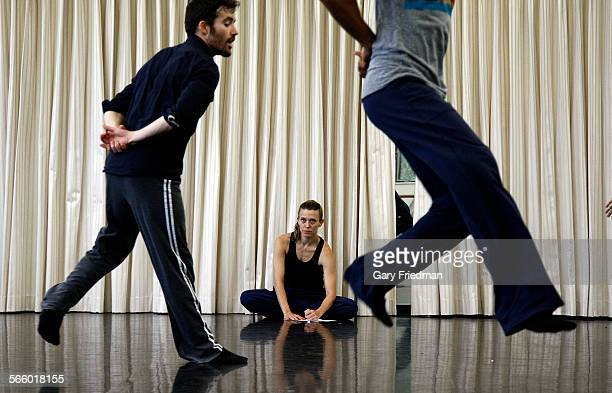 Lillian Barbeito codirector of BodyTraffic takes notes on o2Joy dancers Guzman Rosado and Miguel Perez at the Loyola Marymount University Dance...