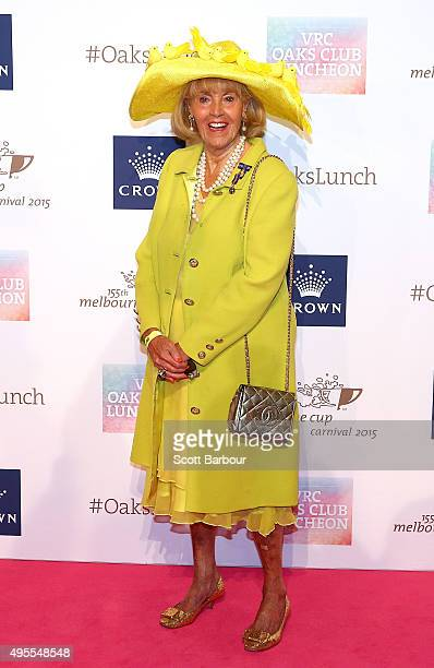 Lillian Frank poses as she arrives at the VRC Oaks Club Luncheon during a Melbourne Cup Carnival press conference at Crown Entertainment Complex on...
