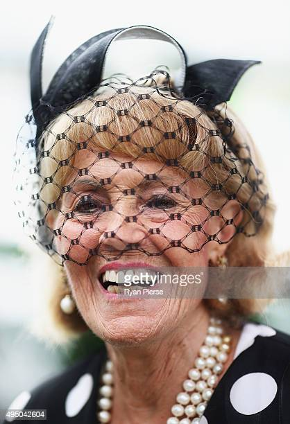 Lillian Frank poses on Derby Day at Flemington Racecourse on October 31 2015 in Melbourne Australia
