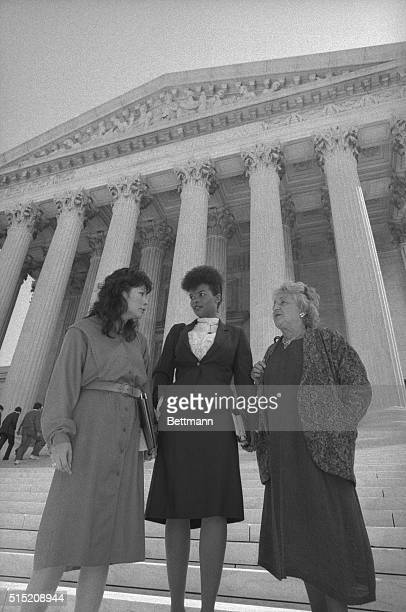 Lillian Garland a California woman who went on maternity leave and lost her job stands on the steps of the Supreme Court with her lawyer Patricia...