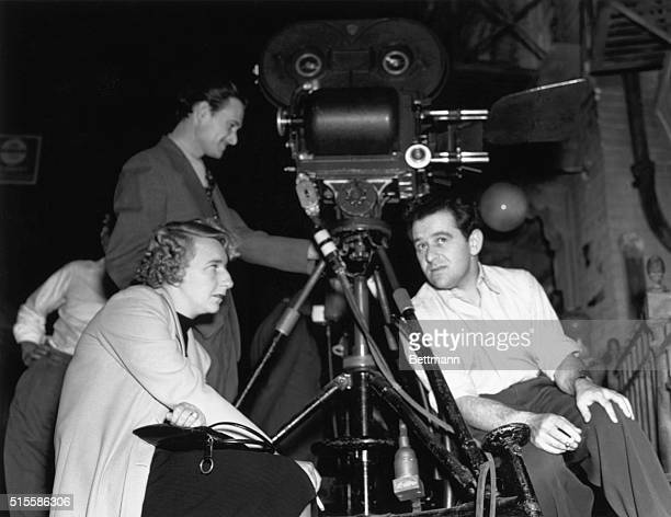 Lillian Hellman famous playwright and scenarist discusses script changes with director William Wyler on the set of Samuel Goldwyn's production of...