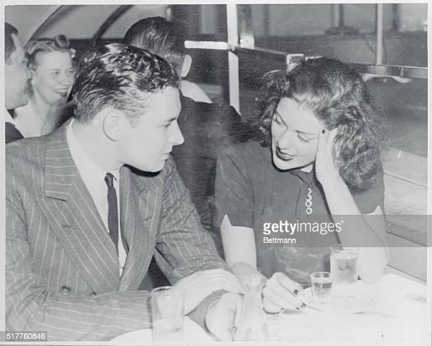Lillian Roth dining at the International Casino with Chad Ballard of Indiana on the eve of her departure for Reno to divorce Judge Ben Shalleck