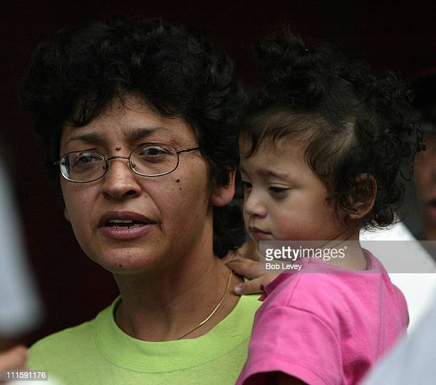 Lilliana Alegria a Honduran immigrant living in New Orleans arrives at the George R Brown Convention Center September 3 2005 in Houston Texas