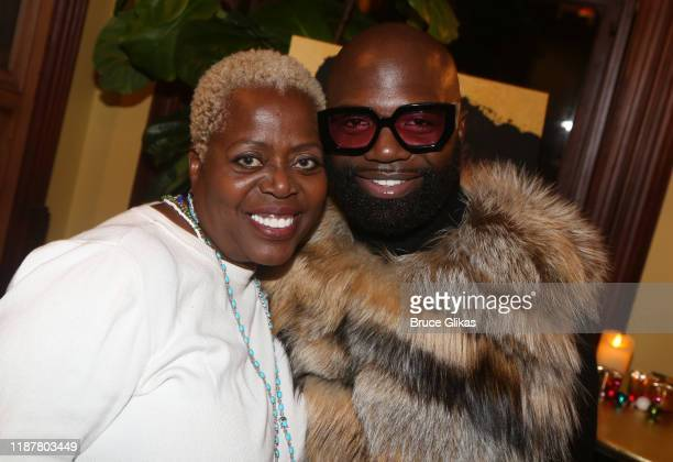 Lillias White and Fur Designer Duckie Confetti pose at the celebration for the North of 40 Podcast Launch at Dapper Dan Atelier on November 14 2019...