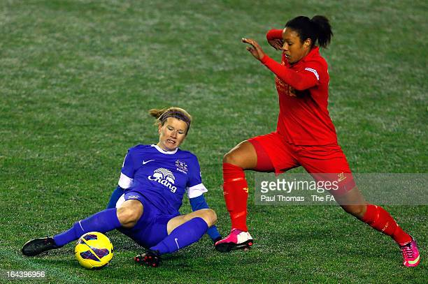 Lillie Fenlon-Billson of Liverpool in action with Lindsay Johnson of Everton during the FA WSL Continental Cup match between Liverpool Ladies FC v...