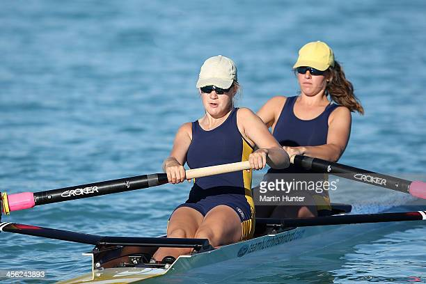 Lilliy Hazlett and Lucy Hutchinson of Rangi Ruru compete in the Womens Coxless Pair during the 2013 Meridian Otago Championships at Lake Ruataniwha...