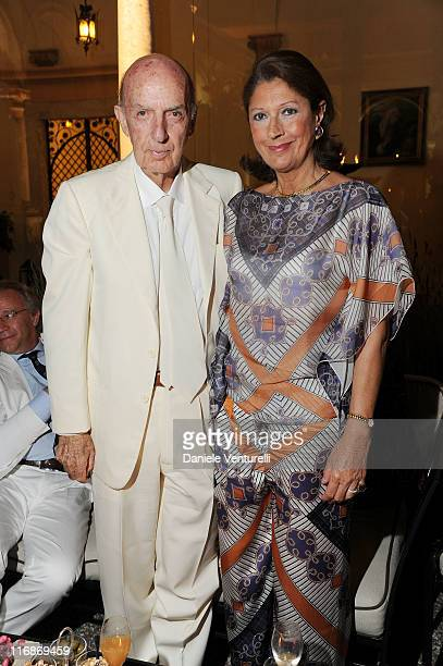 Lillo Sforza Ruspoli and Laura Emanuele attend the 'Fondazione Roma Mediterraneo Dinner' during the 57th Taormina Film Fest 2011 on June 18 2011 in...