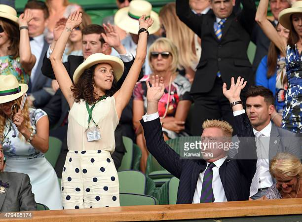 Lilly Becker and Boris Becker attend day six of the Wimbledon Tennis Championships at Wimbledon on July 4, 2015 in London, England.