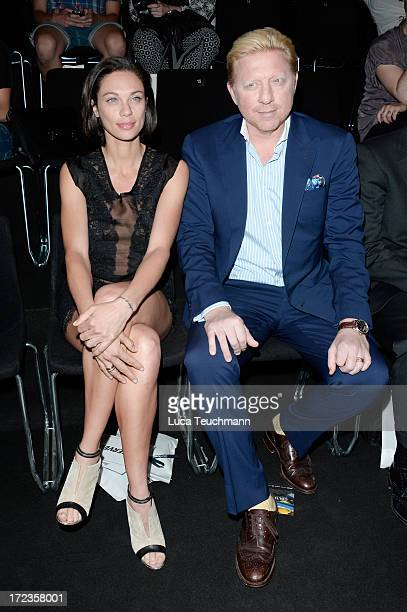 Lilly Becker and Boris Becker attend Malaikaraiss Show during MercedesBenz Fashion Week Spring/Summer 2014 at Brandenburg Gate on July 2 2013 in...