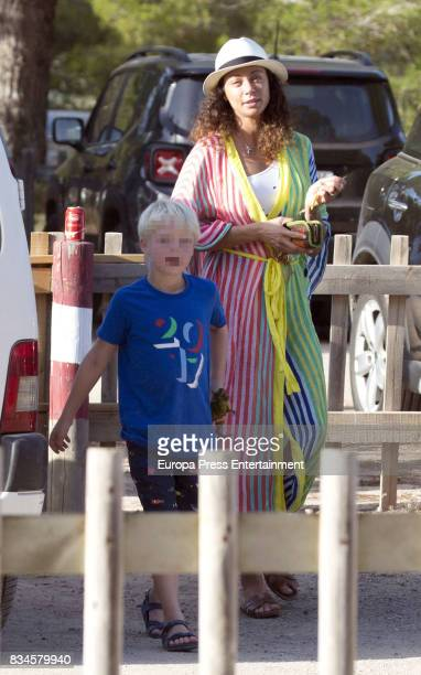 Lilly Becker and her son Amadeus Becker are seen on August 17 2017 in Ibiza Spain