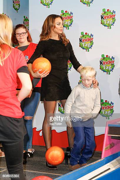 Lilly Becker and her son Amadeus Becker attends the KinderTag to celebrate children's day Amadeus Becker let fall the Bowling Ball on her mothers...