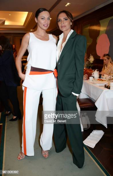 Lilly Becker and Victoria Beckham attend a VIP breakfast hosted by Victoria Beckham to celebrate the launch of the Scott's summer terrace which she...