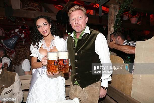 Lilly Becker wearing a Claudia Effenberg dirndl, and her husband Boris Becker during the Oktoberfest 2015 at Kaeferschaenke at Theresienwiese on...