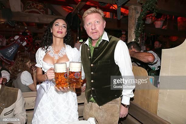 Lilly Becker wearing a Claudia Effenberg dirndl and her husband Boris Becker during the Oktoberfest 2015 at Kaeferschaenke at Theresienwiese on...
