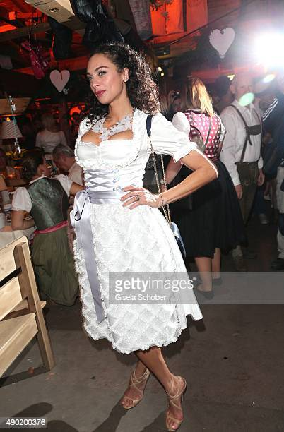 Lilly Becker wearing a Claudia Effenberg dirndl during the Oktoberfest 2015 at Kaeferschaenke at Theresienwiese on September 26 2015 in Munich Germany