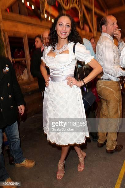 Lilly Becker wearing a Claudia Effenberg dirndl during the Oktoberfest 2015 at Kaeferschaenke at Theresienwiese on September 26 2015 in Munich Germany