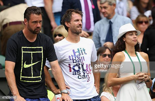 Lilly Becker, wife of Boris Becker and Christopher Kas , coach of Sabine Lisicki watch Sabine Lisicki of Germany against Christina McHale of USA in...