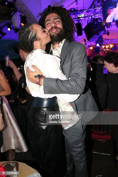 Lilly Becker wife of Boris Becker and her stepson Noah Becker during the 20th Lambertz Monday Night 2018 at Alter Wartesaal on January 29 2018 in...