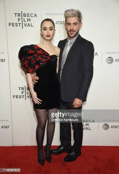 """Lilly Collins and Zac Efron attend """"Extremely Wicked, Shockingly Evil And Vile"""" - 2019 Tribeca Film Festival at BMCC Tribeca PAC on May 02, 2019 in..."""