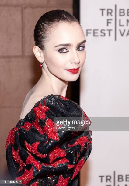 Lilly Collins attends Extremely Wicked Shockingly Evil And Vile during 2019 Tribeca Film Festival at The Stella Artois Theatre Manhattan