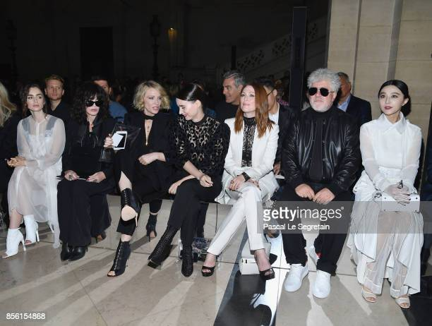 Lilly Collins Isabelle Adjani Cate Blanchett Rooney Mara Julianne Moore Pedro Aldmodovar and Fan Bingbing attend the Givenchy show as part of the...