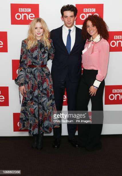 Lilly Collins, Josh O'Connor and Erin Kellyman attend BBC OneÕs Les Miserables launch at BAFTA in London.