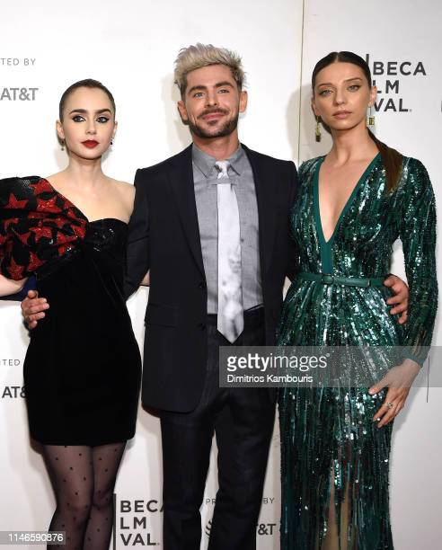 """Lilly Collins, Zac Efron and Angela Sarafyan attend """"Extremely Wicked, Shockingly Evil And Vile"""" - 2019 Tribeca Film Festival at BMCC Tribeca PAC on..."""